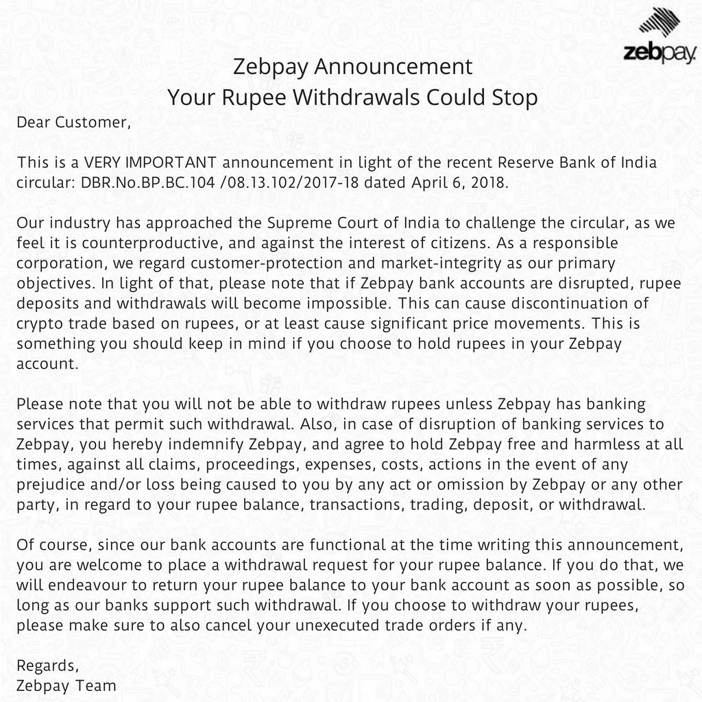 Zebpay announced an interruption in services over regulatory concerns in india